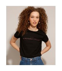 """camiseta de algodão com estampa mademoiselle"""" manga curta preta"""""""