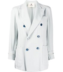 barena cropped sleeve double buttoned blazer - blue