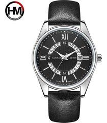 reloj de cinturón de moda de calendario para hombre-gris