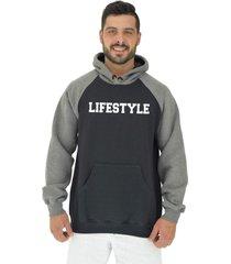blusa moletom masculino alto conceito lifestyle preto/mescla escuro