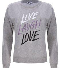 buzo mujer live love color gris, talla l