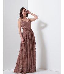 motivi vestito lungo ricamato donna rosa