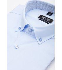 koszula bexley 2496/1 krótki rękaw slim fit niebieski