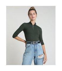 blusa feminina canelada com zíper de argola manga longa gola alta verde militar