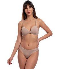conjunto lingerie top triângulo lateral média plissada liso - feminino