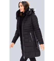 doorgestikte mantel alba moda zwart