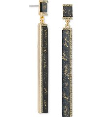 rachel rachel roy gold-tone crystal & gold-fleck black bar linear drop earrings