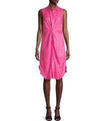 saks fifth avenue women's twist front linen shirtdress - hot pink - size xs