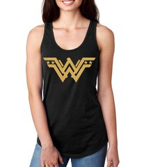 wonder woman's gold glitter shield flowy cotton polyester black tank top