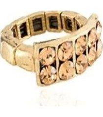 anel armazém rr bijoux ouro velho quadrado cristais