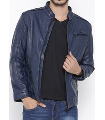 men's fashion navy blue biker slimfit leather jacket, blue leather jacket mens