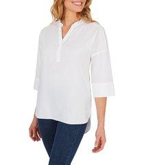 women's foxcroft roman stretch non iron tunic, size 18 - white