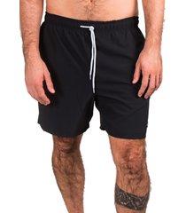 short de banho kevingston link preto liso elastic com cadarço e bolso traseiro