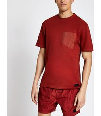 river island mens pastel tech red nylon pocket t-shirt