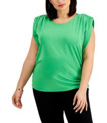 inc plus size shoulder-pad boxy top, created for macy's