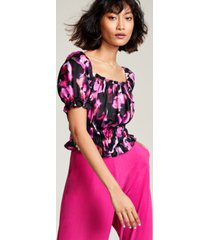 bar iii floral-print puff-sleeve blouse, created for macy's