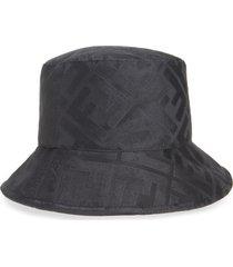 women's fendi ff logo silk bucket hat - black
