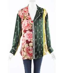 oscar de la renta patchwork floral silk pajama top green/multicolor/floral print sz: m