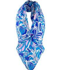emilio pucci halter neck printed swimsuit - blue