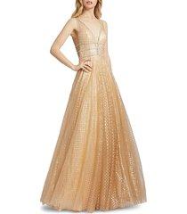 mac duggal women's lattice-print sparkle ball gown - nude silver - size 16