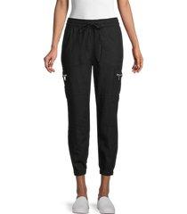dkny women's six-pocket linen-blend cargo pants - army green - size l