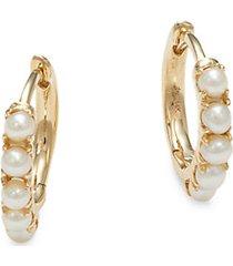 14k yellow gold & 2mm freshwater pearl huggie earrings