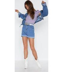 womens how i roll denim shorts - indigo