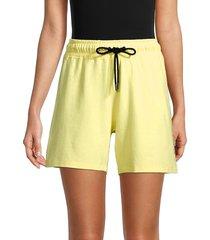 dkny sport women's rhinestone logo gym shorts - lemon - size m