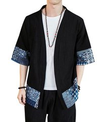 hombres casual algodón soft tribal black sunscreen open front cardigan
