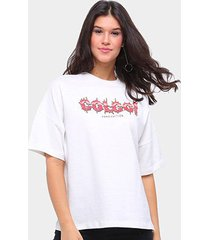 camiseta colcci oversized hard edition feminina - feminino