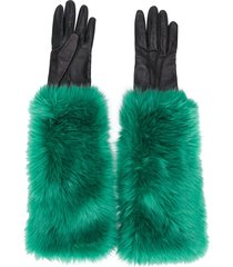 prada pre-owned 2000 faux fur lined gloves - green