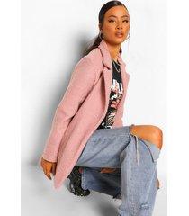 getextuurde faux fur teddy jas, dusky pink