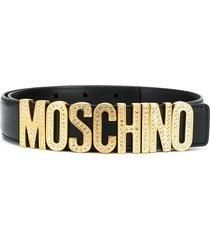 moschino crystal-embellished lettering logo belt - black