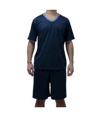 pijama para ficar em casa conjunto short e camisa sapatofranca azul