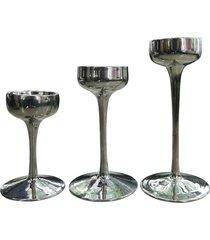 jogo kasa ideia 3 porta velas de vidro prata