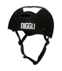 capacete niggli pads iron profissional preto fita preta