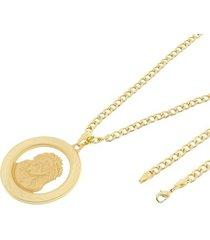 kit medalha face de cristo tudo joias com corrente grumet 5mm e 60cm folheado a ouro 18k