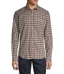 vintage checkered cotton twill dress shirt