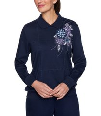alfred dunner women's plus size relaxed attitude collared banded bottom embroidered top