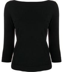 roberto collina boat neck blouse - black