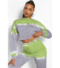 tall tie dye cropped sweat top, lime