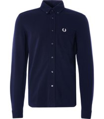 fred perry pique texture shirt | navy | m1657-608