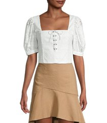 alice + olivia women's crochet cropped top - off white - size s