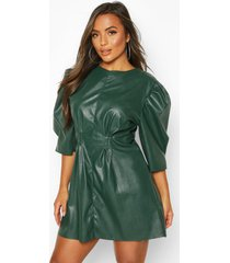 petite faux leather puff sleeve dress, green