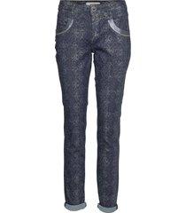 naomi cobra pant pantalon met rechte pijpen blauw mos mosh