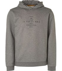 no excess sweater hooded with big chest print grey melange