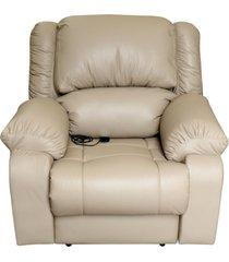 poltrona do papai reclinável elétrica com massagem magnum couro bege - gran belo