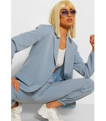 tailored oversized pocket blazer, blue