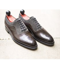 handmade brown gray shoes suede leather brogue formal dress oxford two tone shoe