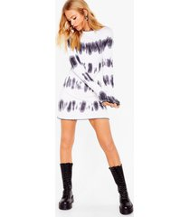 womens tie dye long sleeve rib mini dress - white